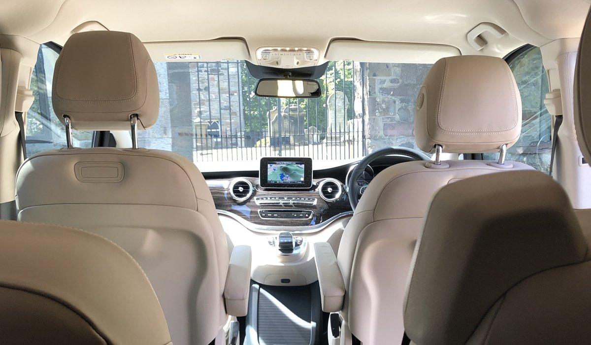 Interior of Mercedes V Class minivan
