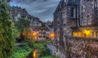 Dean Village in Edinburgh at dusk
