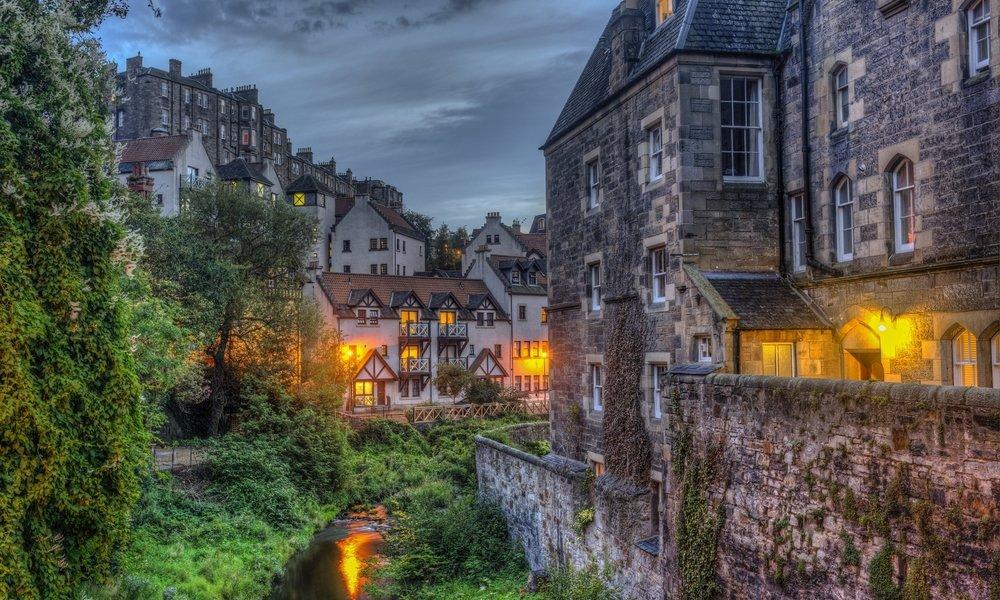 Dean Village in Edinburgh at dusk