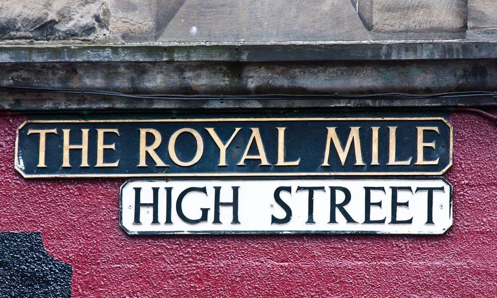 Royal Mile sign in Edinburgh