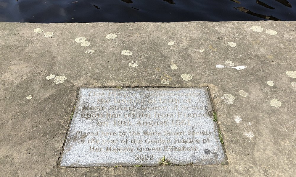 Plaque commemorating Mary Queen of Scots returning to Scotland