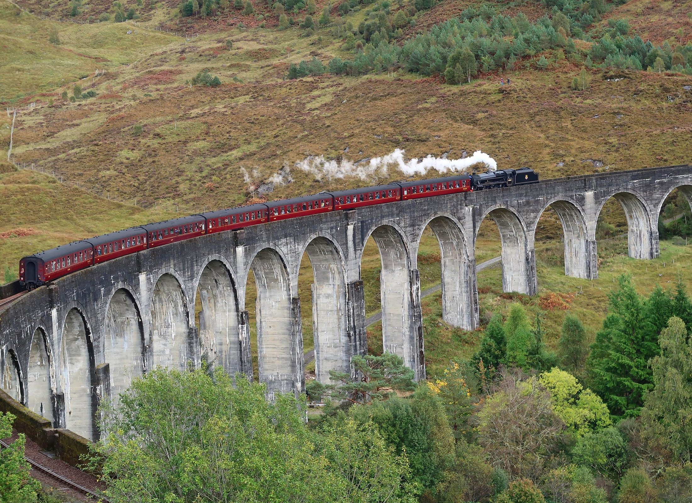 Jacobite steam train over Glenfinnan Viaduct