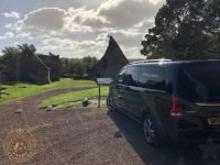 Preston Mill with tour van in East Linton, East Lothian