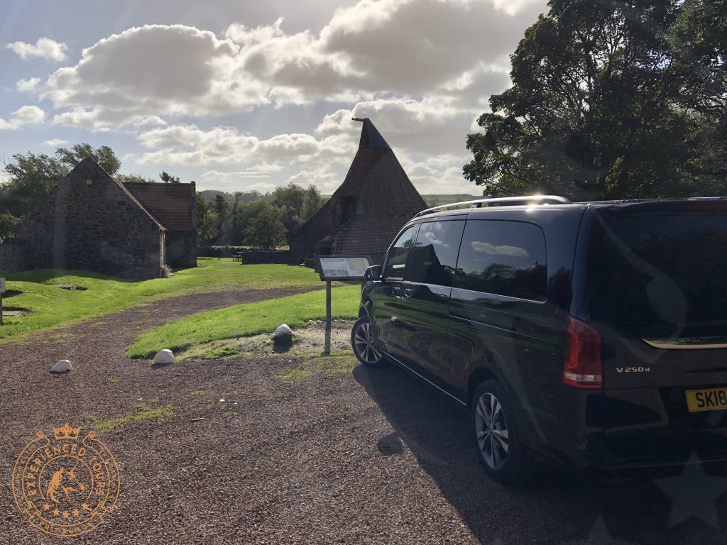 Preston Mill with tour van in East Linton, East Lothian