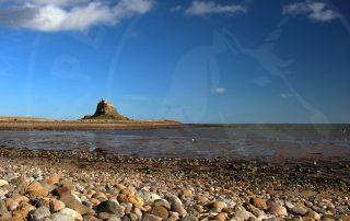 Lindisfarne Castle from pebble beach