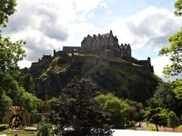 Edinburgh Castle dominating Princes Street Gardens