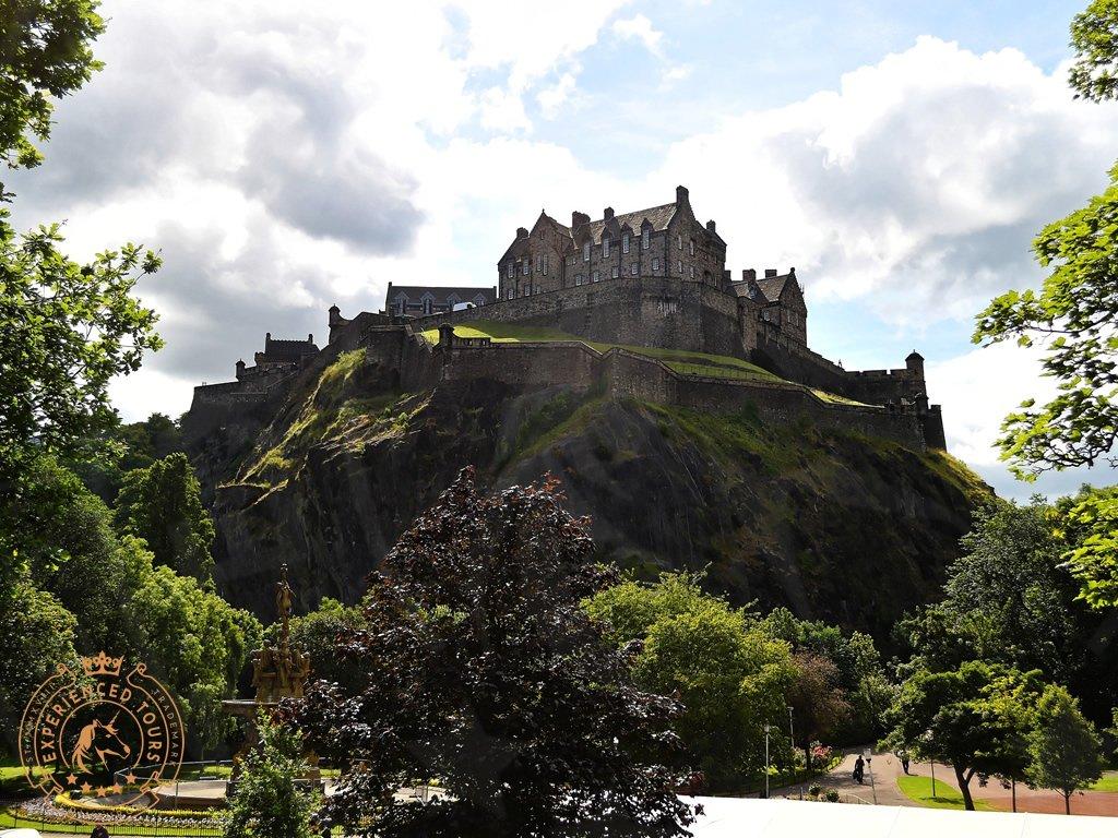 Edinburgh Castle dominating Princes Street Gardens