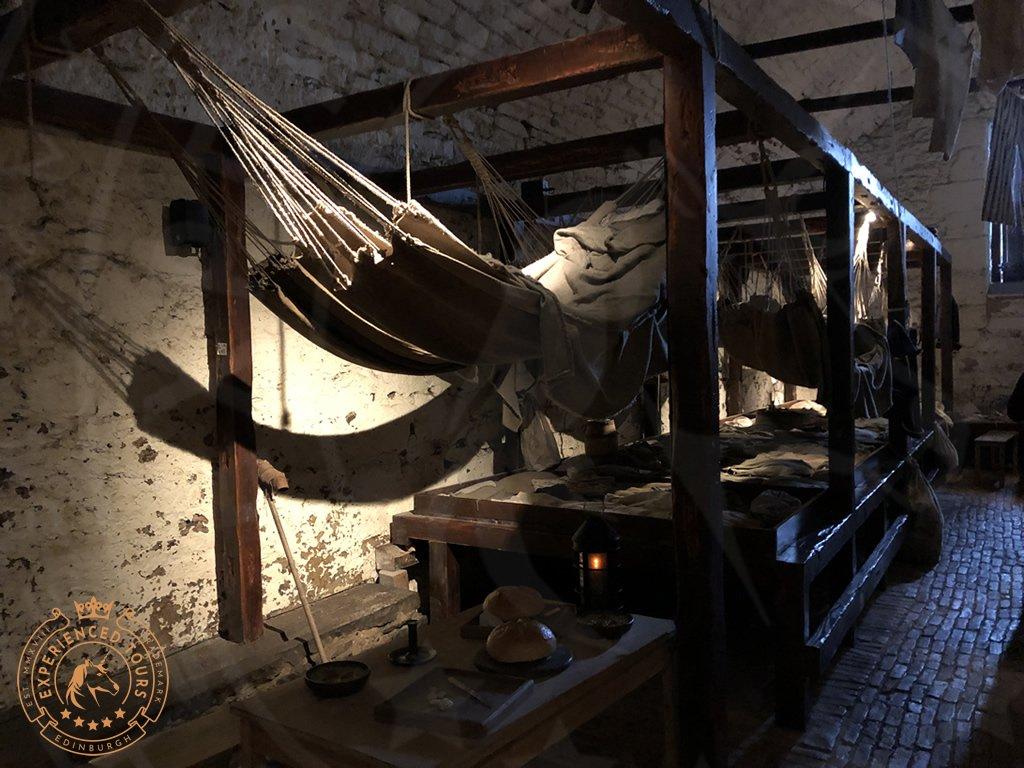 The recreated Prison at Edinburgh Castle