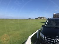 Tour van parked next to The Old Course in St Andrews