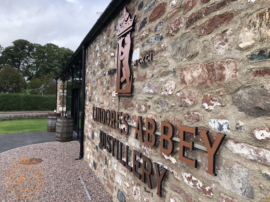Lindores Abbey Distillery entrance sign