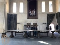The throne chairs in the great hall at Stirling Castle