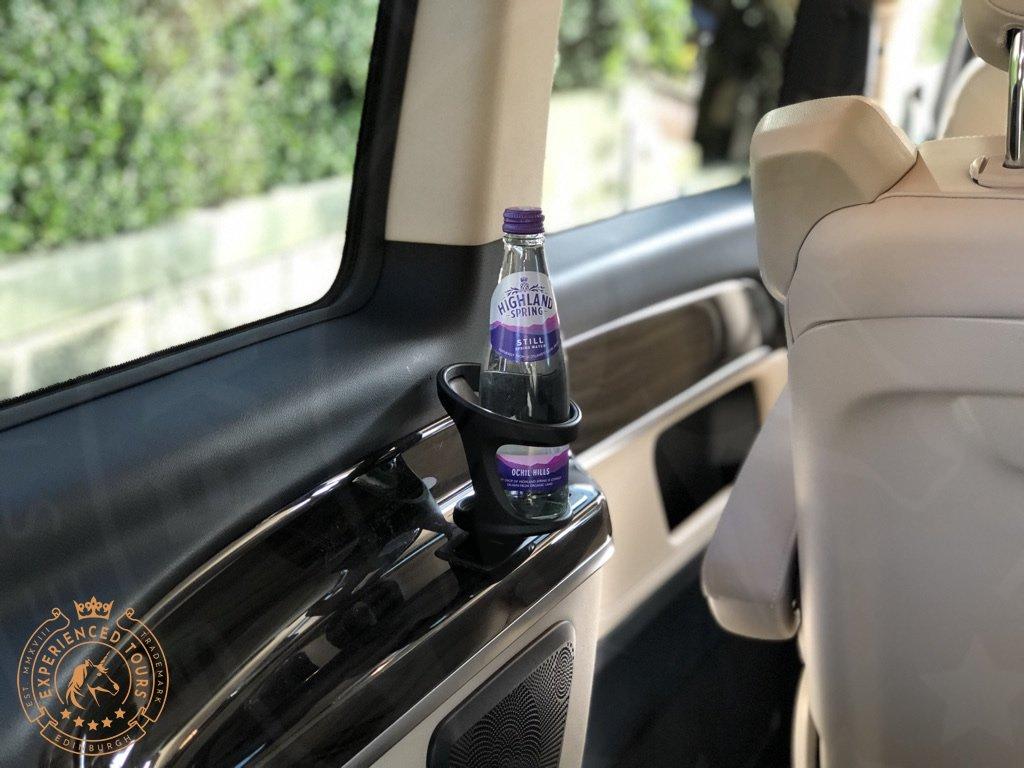 Tour van with water bottle