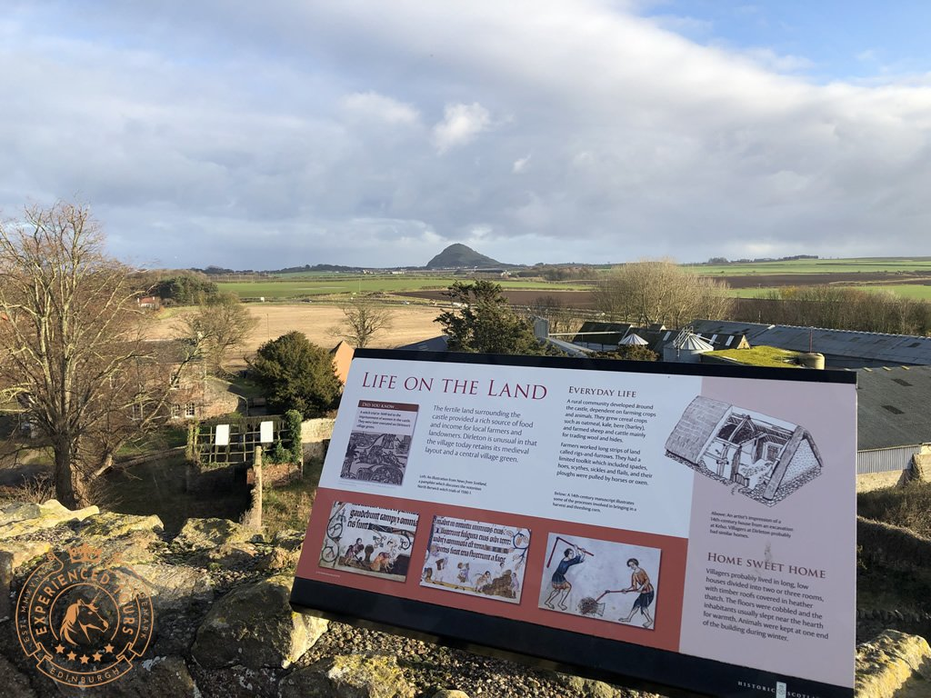 Looking towards North Berwick Law from Dirleton Castle