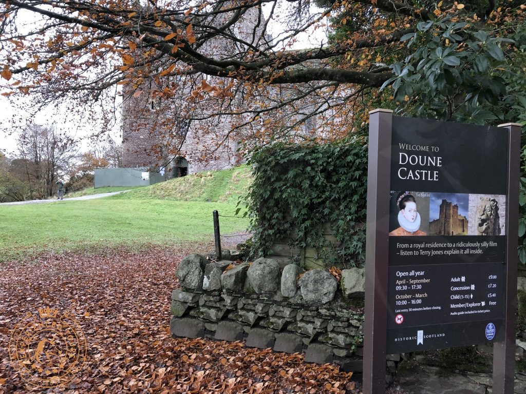 Welcome to Doune Castle sign