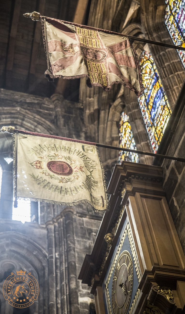 Regimental flags in Glasgow Cathedral