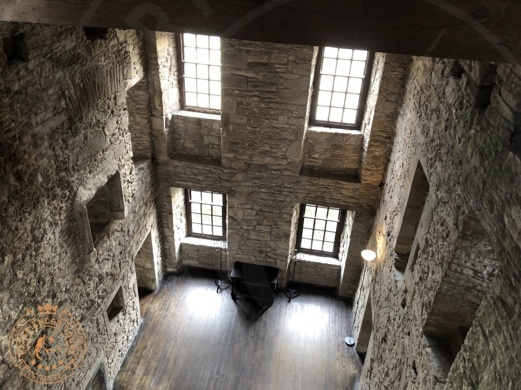 View down through the west tower at Huntingtower Castle