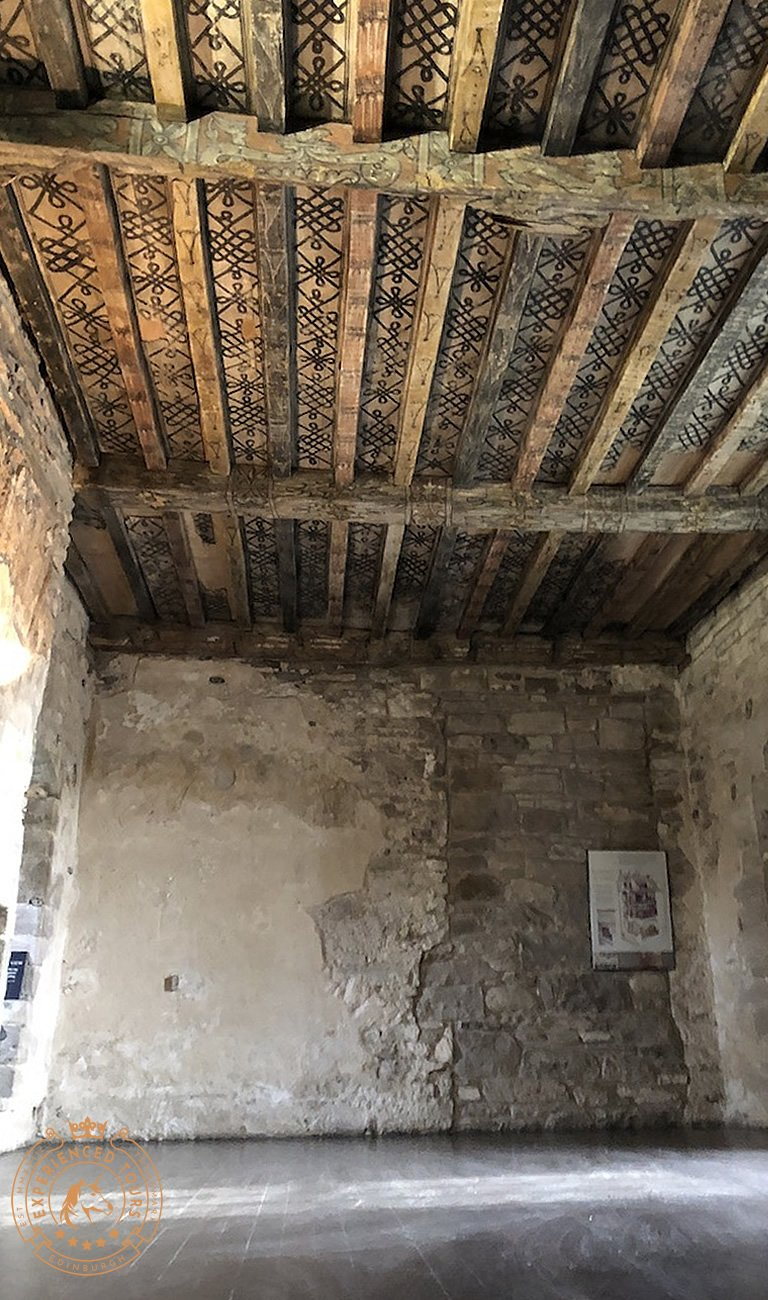 Painted ceiling at Huntingtower Castle