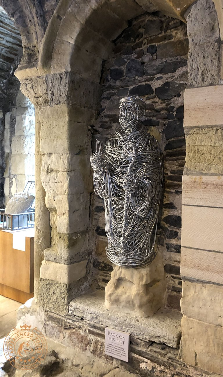 A modern statue of Columba that recreates an old bust