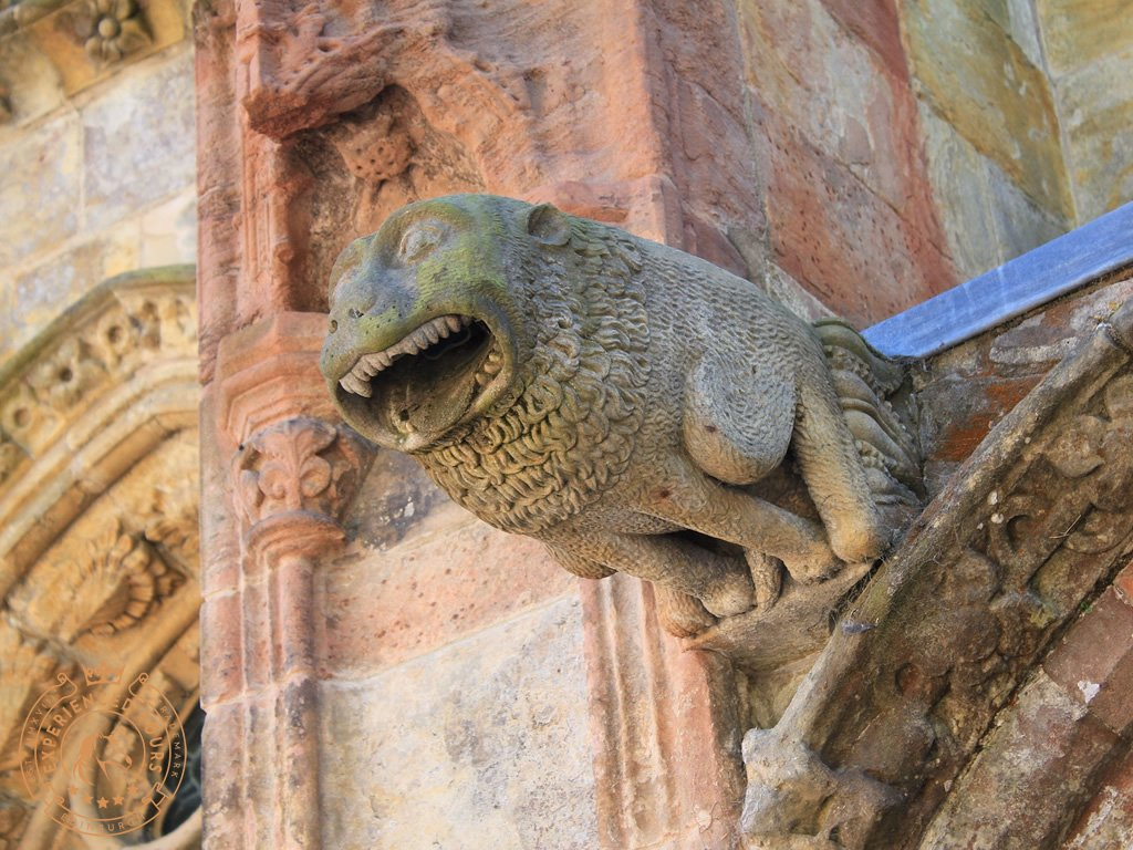 One of the many Gargoyles at Rosslyn Chapel. This one represents an African lion
