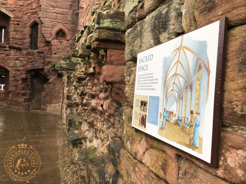 Sign detailing the chapel at Bothwell Castle