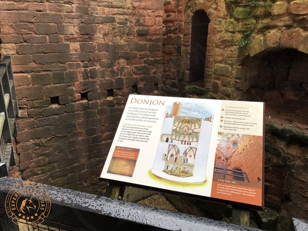 Donjon information board at Bothwell Castle