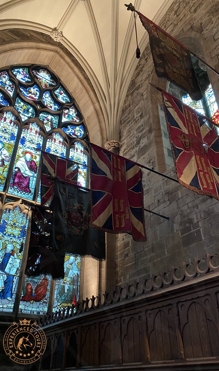 Flags Commemorating the war fallen in St Giles Cathedral