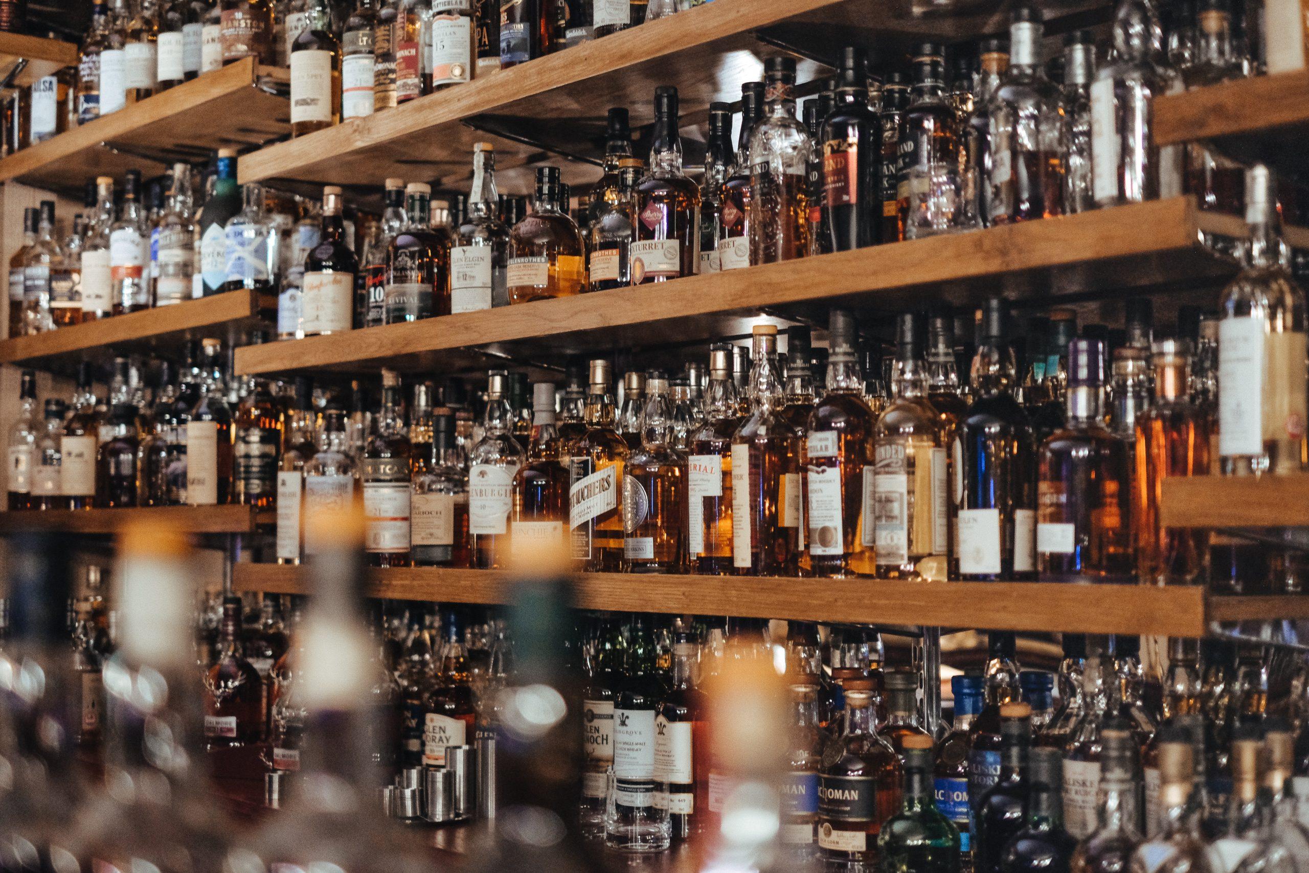 Well stocked whisky bar