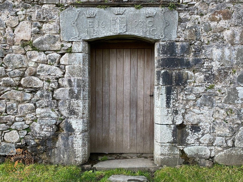 Entrance to Kilchurn Castle with inscription to John Earl of Breadalbane (IEB) and his wife, Countess Mary Campbell (CMC)