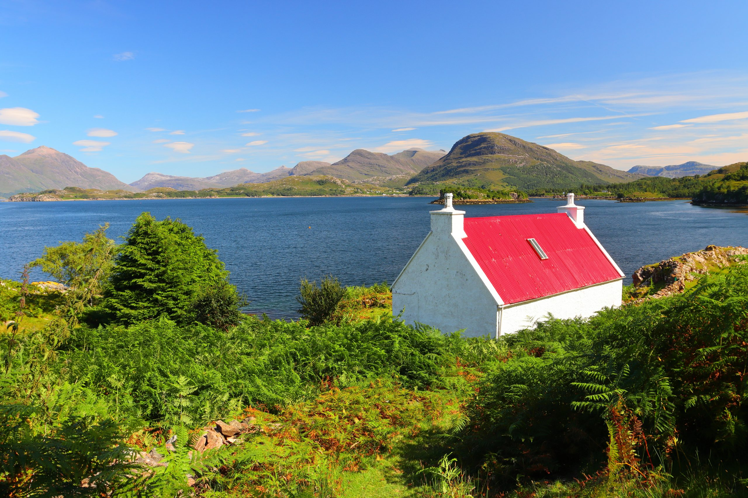 Famous Red rooted cottage at Shieldaig overlooking Loch Torridon