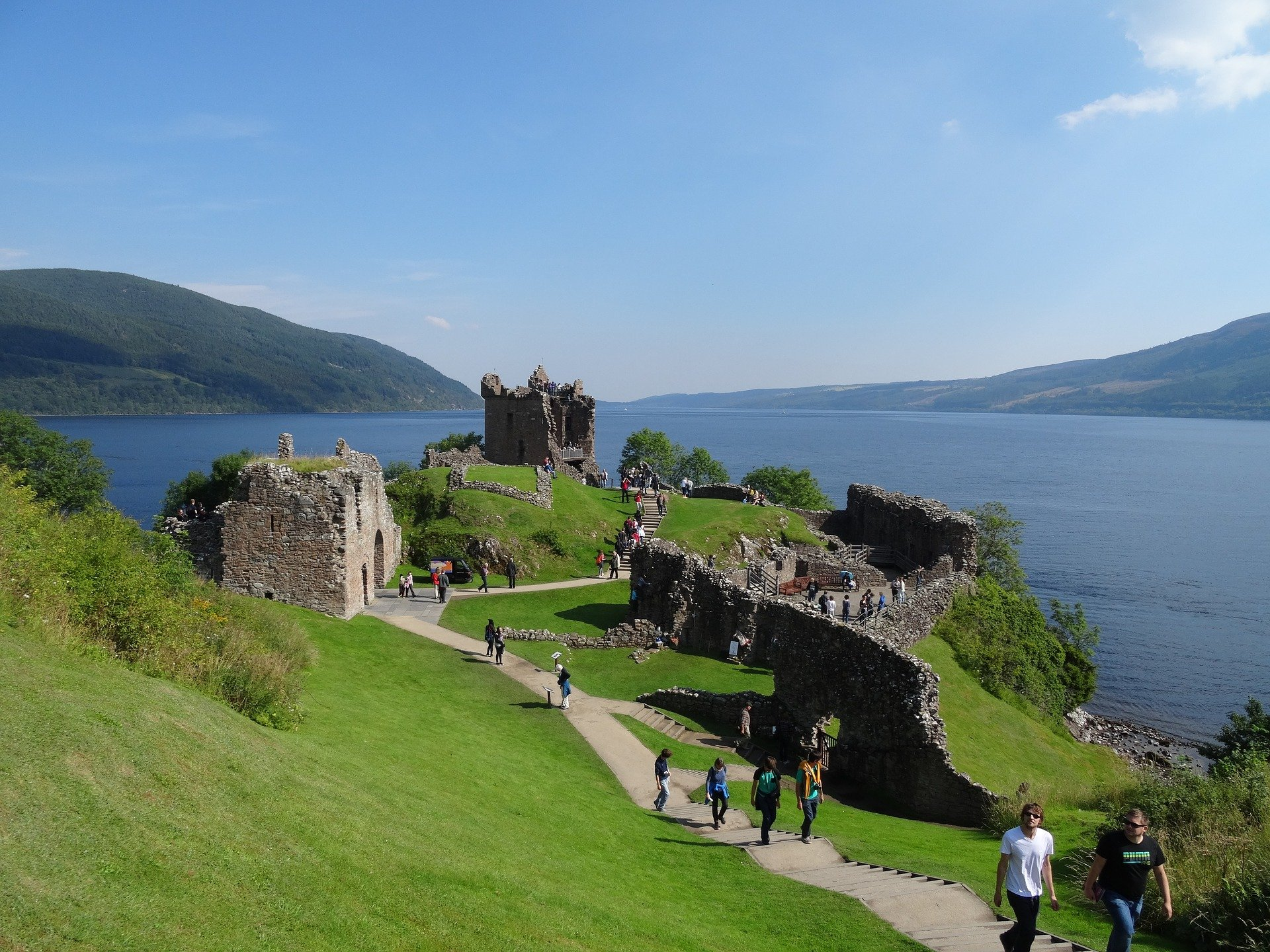 View over Urquhart Castle to Loch Ness