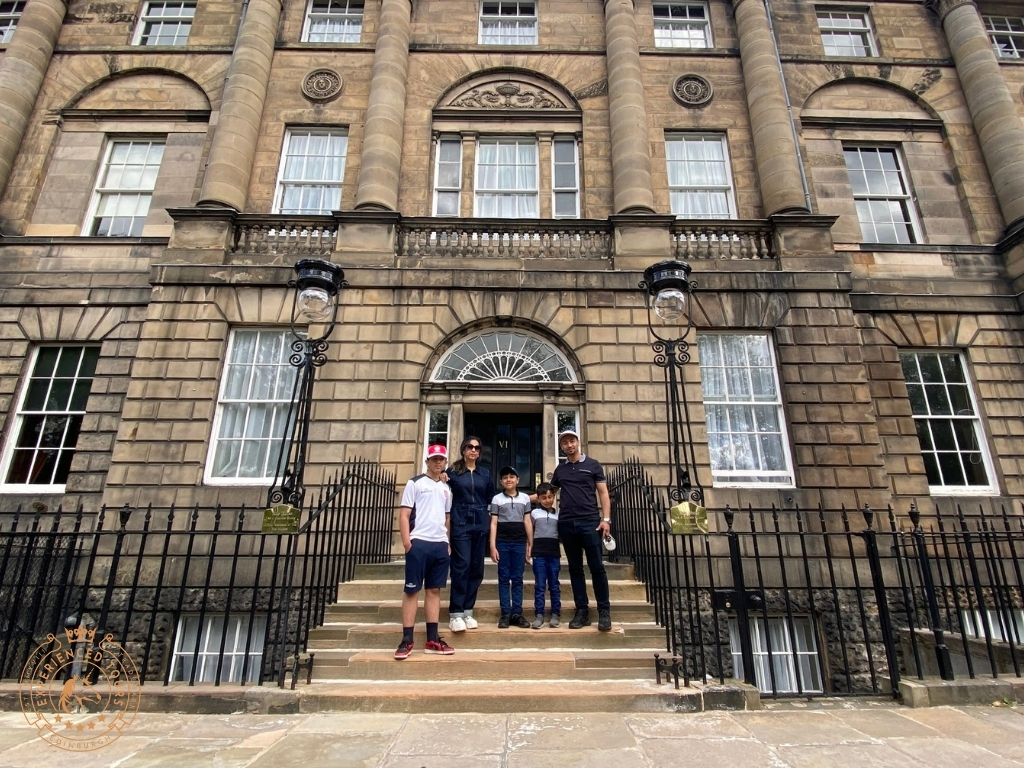 Clients outside Bute House, The official Residence of the First Minister of Scotland